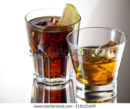 Whiskey on the rocks and cuba libre