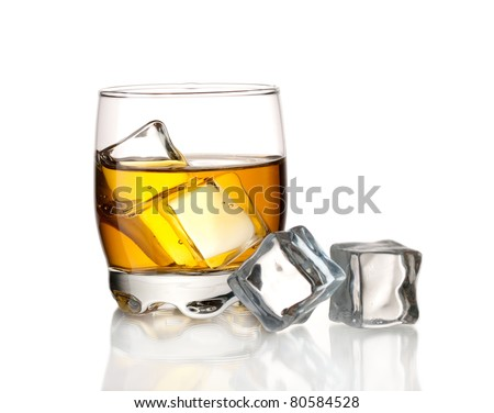 Whiskey on the rocks and ice cubes, isolated on white - stock photo