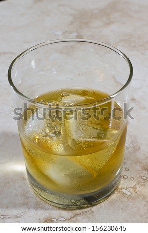 whiskey served on the rocks with a different perspective and look