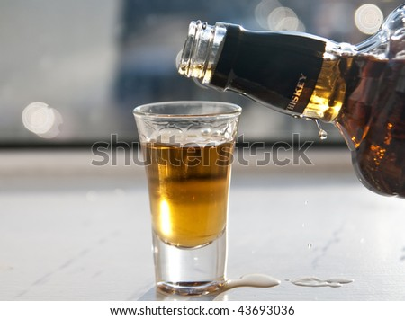 Whiskey shot - stock photo