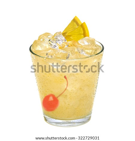 Whiskey sour cocktail with maraschino cherry and lemon slice isolated on white background - stock photo