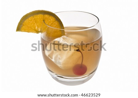 Whiskey Sour mixed drink with cherry and orange slice on white background - stock photo