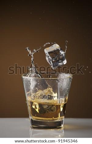 whiskey splash - stock photo