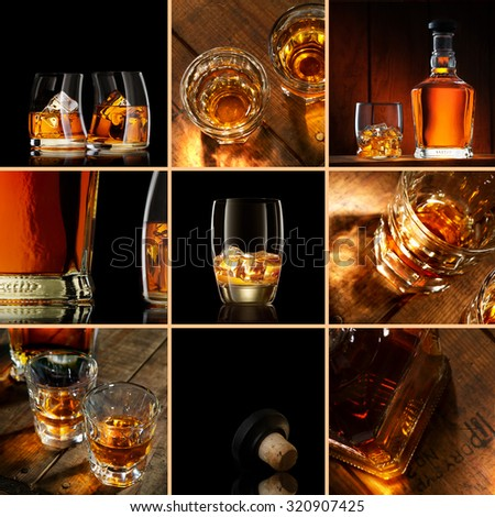 whiskey theme collage composed of different images - stock photo