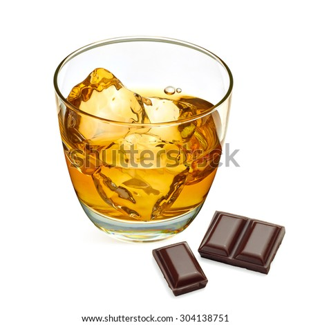 Whiskey with chocolate bars isolated on white background  - stock photo