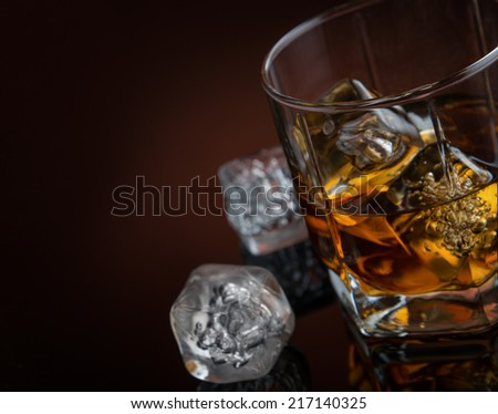 Whiskey with ice - stock photo