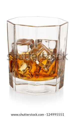 Whiskey with ice cubes, isolated on the white background, clipping path included.