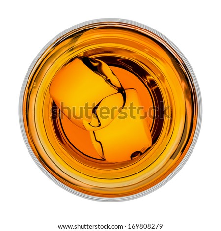 Whiskey with ice in glass from top - stock photo