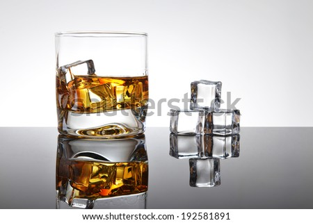 Whiskey with ice in simple glass