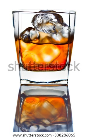 whiskey with ice isolated on white background