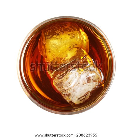 whiskey with ice overhead view - stock photo