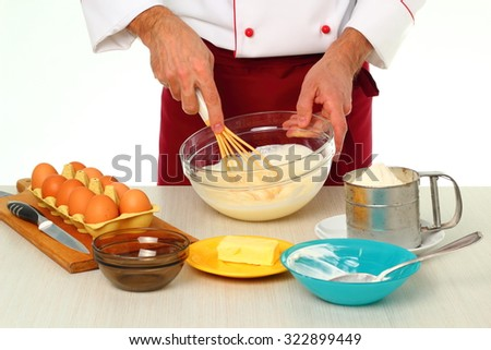Whisking sugar with sour cream. Making bundt cake with chocolate glaze. - stock photo