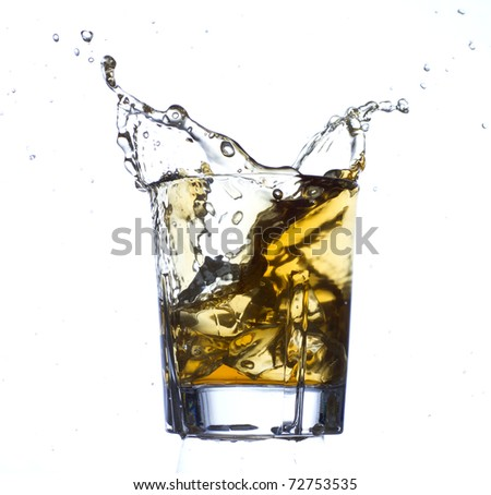 Whisky and ice - stock photo