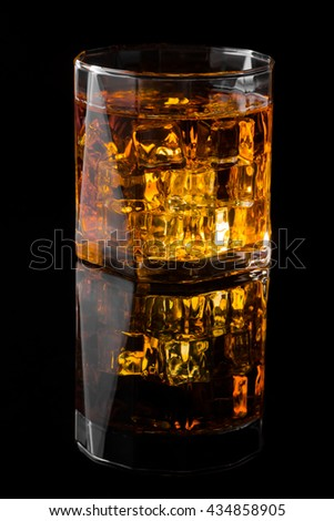 Whisky and Ice on a black glass table