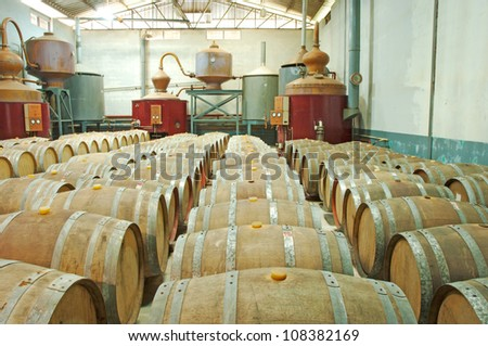 whisky distillery - stock photo