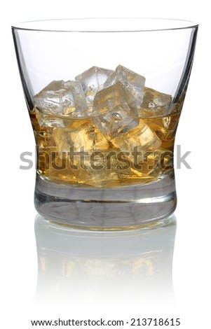 Whisky in a glass with ice cubes, isolated on a white background - stock photo