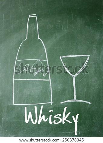 whisky sign on blackboard - stock photo