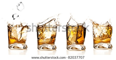 whisky splash collection isolated on a white background - stock photo