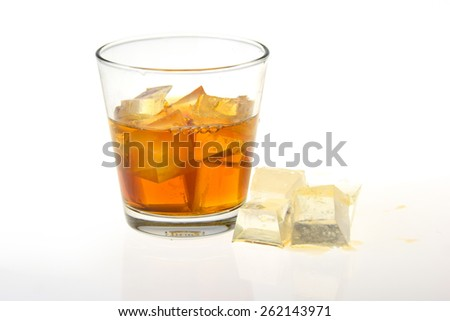 whisky with ice in glass