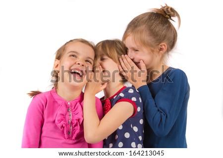Whisper in friends ear - stock photo