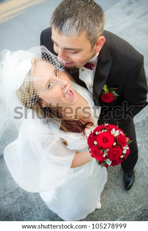 Whispered the promise of the bride - stock photo