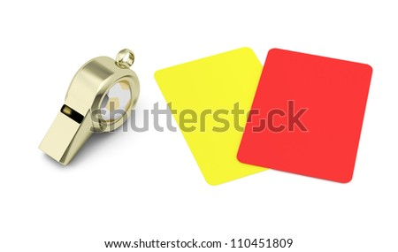 whistle and red and yellow cards isolated on white background. football refereeing concept. 3d render - stock photo