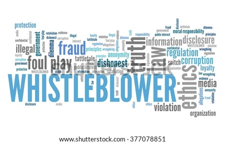 Whistle blower - company law violation. Moral responsibility concept word cloud. - stock photo