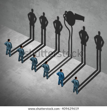 Whistle blower or whistleblower concept as a symbol of a secret informer agent posing as an employee with his cast shadow of a whistle as a metaphor for inside  info in a 3D illustration style. - stock photo