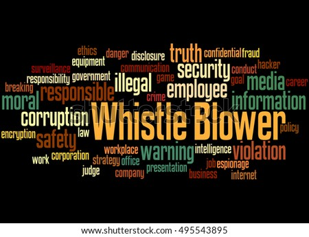 Whistle blower, word cloud concept on black background.