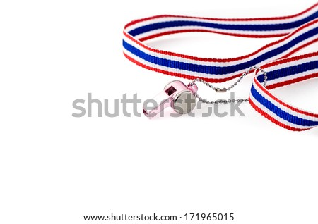 Whistle-striped flag of Thailand  on a white background - stock photo