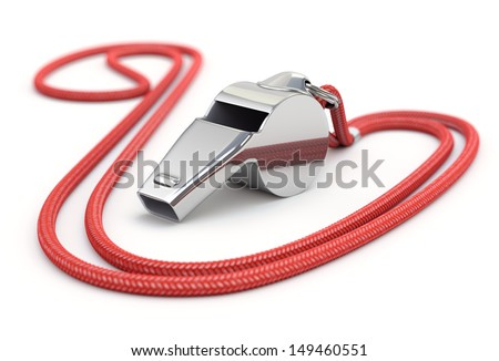 Whistle with cord - stock photo