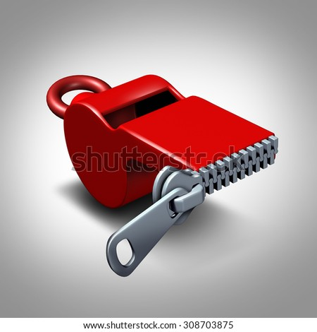 Whistleblower silence concept or intimidation symbol and whistle blower silenced to stay quiet as pressure to expose corruption as a red whistler with a closed zipper. - stock photo