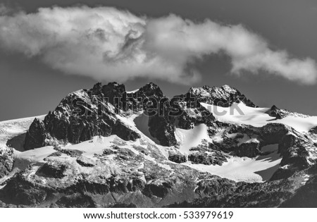 Whistler, BC, Canada - Sept. 21, 2016:  The four major peaks of the Tantalus Range are named Alpha, Serratus, Dione and Tantalus (2603m).