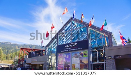 WHISTLER , CANADA - 15 / 09 / 2016 ; Entrance of the Whistler village gondola to take the ski lift to the top of Blackcomb mountain. There you can hike or mountainbike on amazing trails