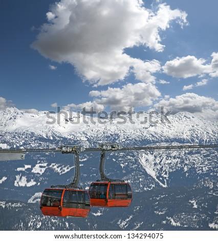 Whistler Gondola - Peak to Peak Gondola (Peak 2 Peak) with Coast Mountains - stock photo