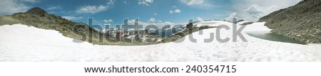 Whistler mountains panoramic view. British Columbia. Canada. Horizontal - stock photo