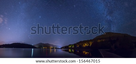 Whistler's Alta lake at night under milky way - stock photo