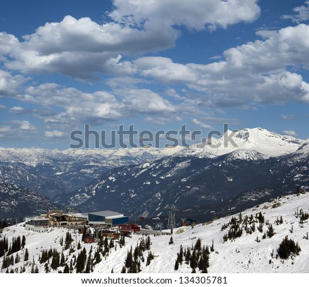 Whistler - The Roundhouse Lodge, Peak 2 Peak Gondola station and Blackcomb Mountain - stock photo