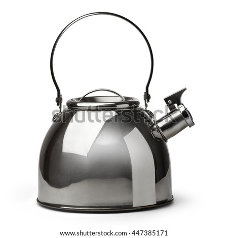 Whistling kettle isolated on white background with clipping path. - stock photo