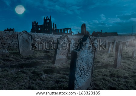 Whitby Abbey, Yorkshire, UK. Gothic abbey and cementary which inspired Bram Stoker to write his most famous novel Dracula - stock photo