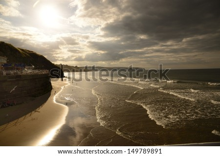 Whitby is a seaside town, port and civil parish in the Borough of Scarborough and English county of North Yorkshire - stock photo