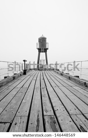 Whitby West Pier lighthouse - stock photo