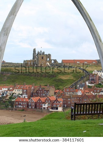 WHITBY, YORKSHIRE, UK. AUGUST 18, 2008.  The abbey and church viewed through the Whalebone arch at Whitby in North Yorkshire, UK.