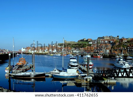 WHITBY, YORKSHIRE, UK. NOVEMBER 17, 2011. The harbor and the old town taken from the car park at Whitby in North Yorkshire, UK.