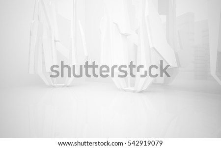 White Abstract architectural background whith gray lines . 3D illustration and rendering