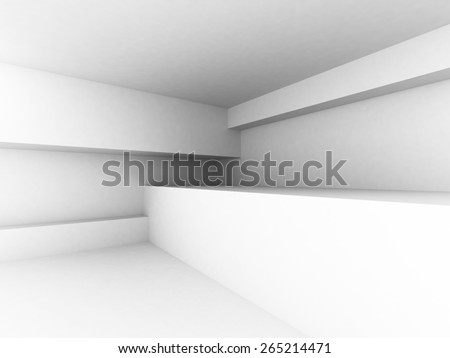 White Abstract Architecture Interior Background. 3d Render Illustration - stock photo