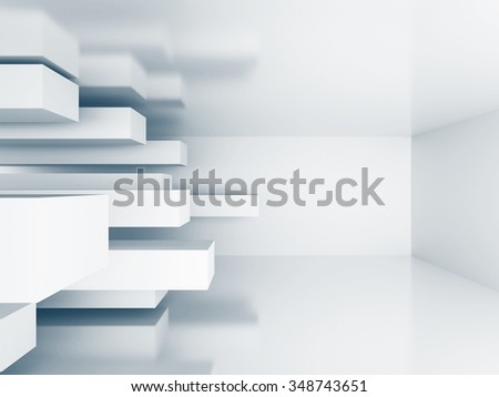 White Abstract Architecture Wallpaper Background. 3d Render Illustration - stock photo