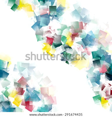 white abstract background, colorful cubes pattern