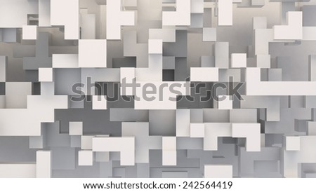 white abstract background from cubes - stock photo