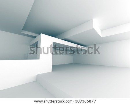 White Abstract Building Construction Background. 3d Render Illustration - stock photo